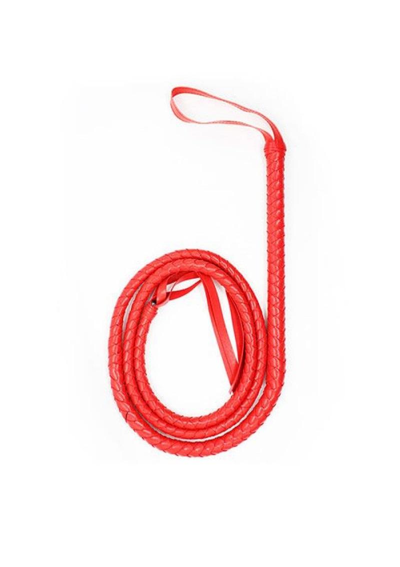 Piros fonott ostor-180cm.
