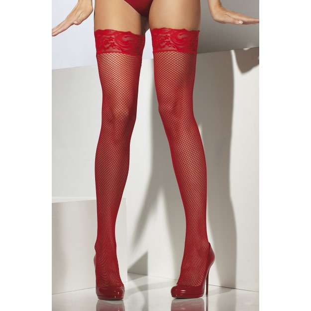 Fishnet Hold-Ups, Lace Tops With Silicone.
