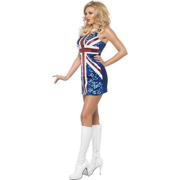 Brit lobógós flitteres ruha.