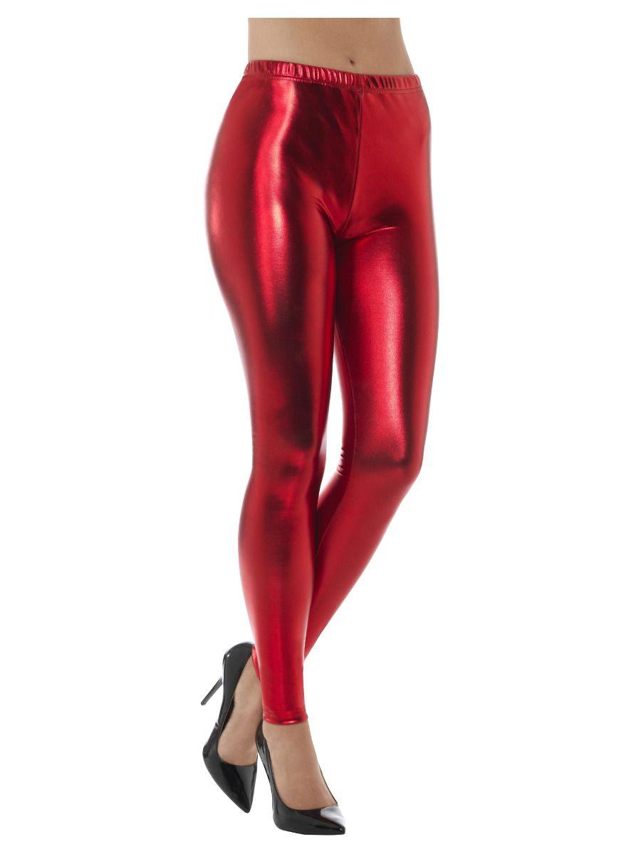 Metallic Disco Leggings-red.