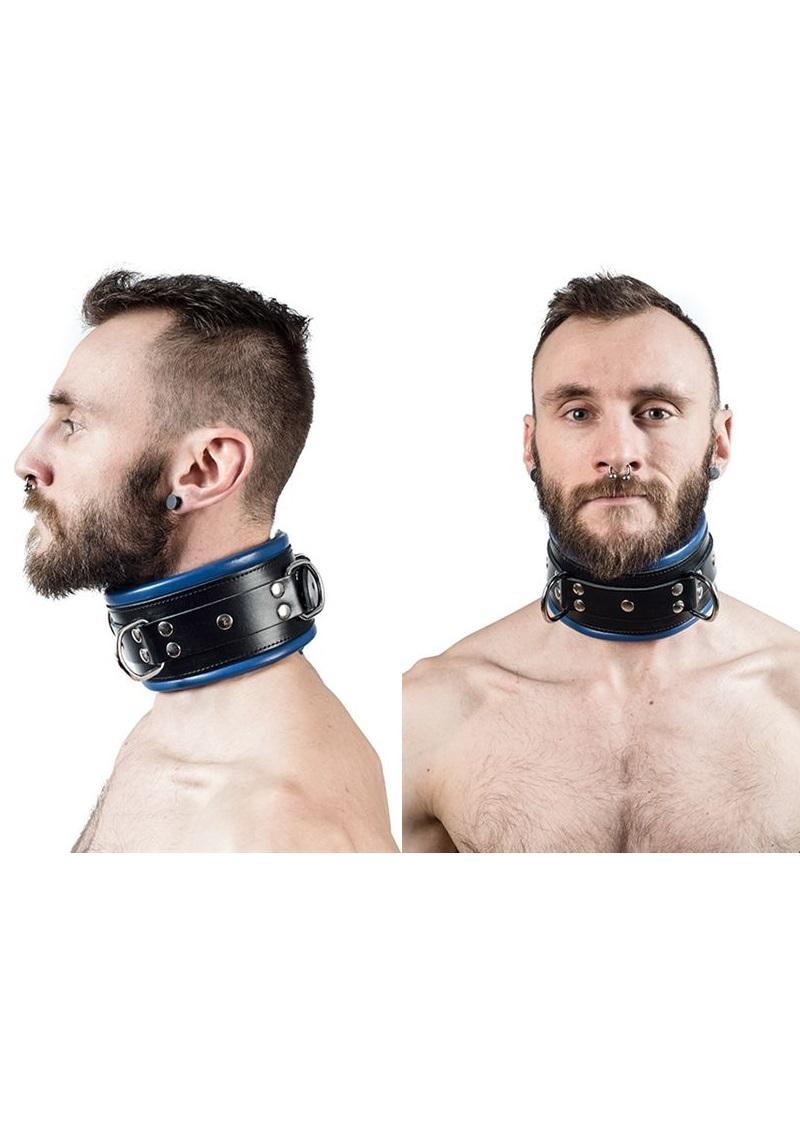 Bőr nyakörv-széles, fekete-kék