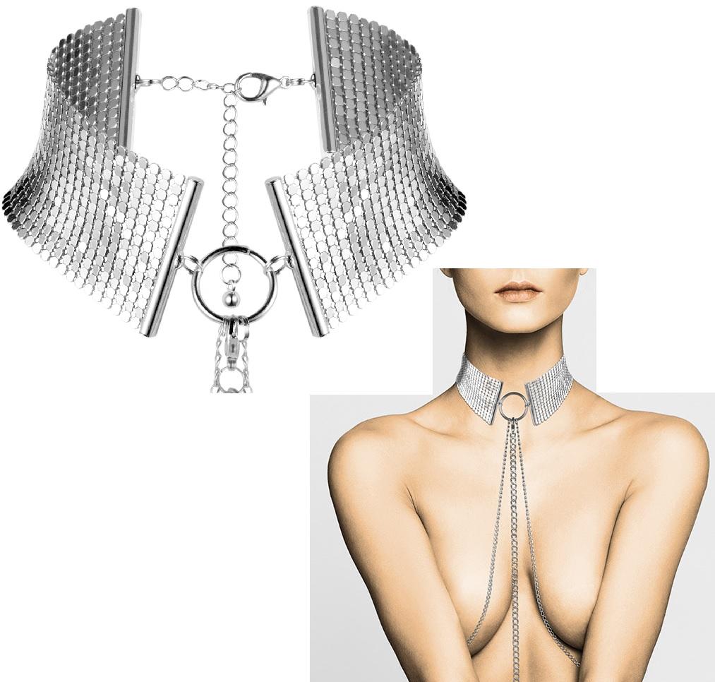 Bijoux-széles ezüst színű nyaklánc fémből.