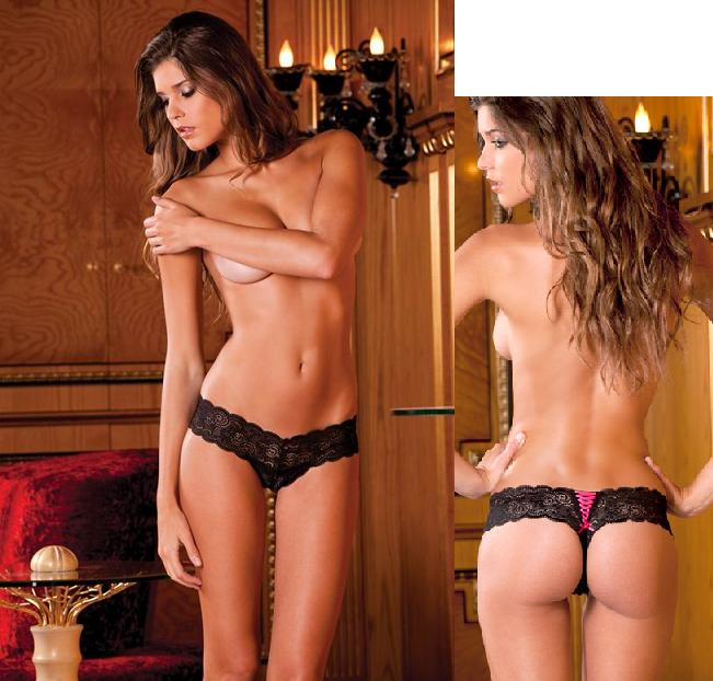 Crotchless lace thong.