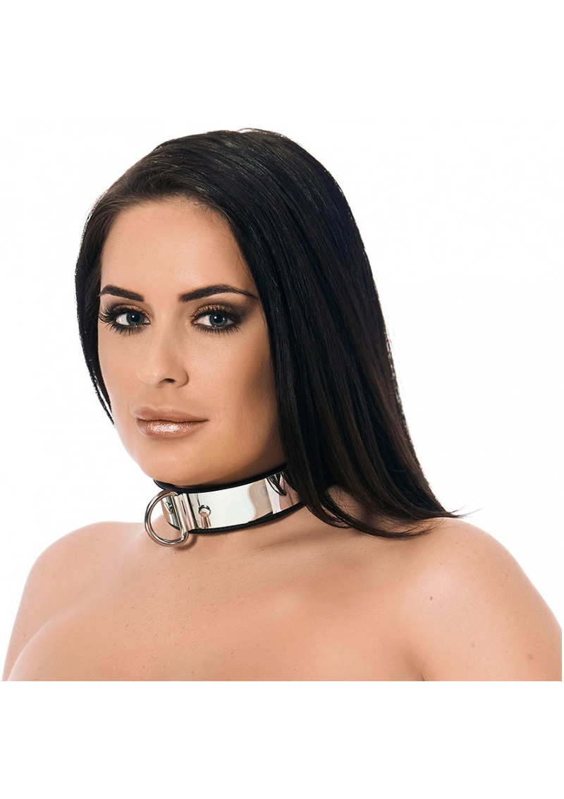 Collar with metal and padlock.